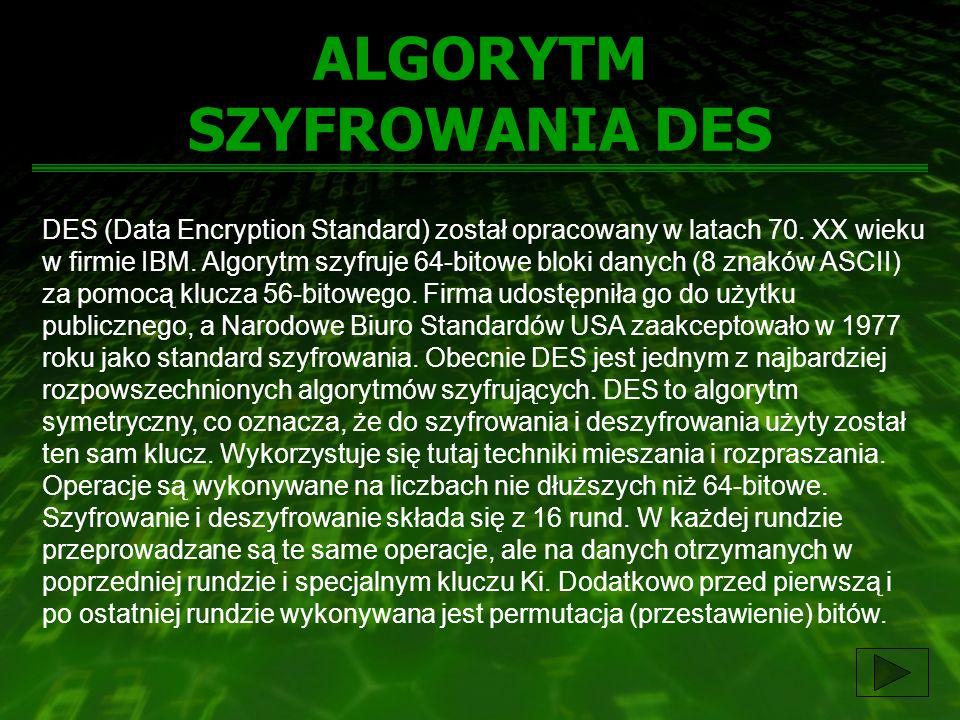 ALGORYTM SZYFROWANIA DES DES (Data Encryption Standard) został opracowany w latach 70. XX wieku w firmie IBM. Algorytm szyfruje 64-bitowe bloki danych