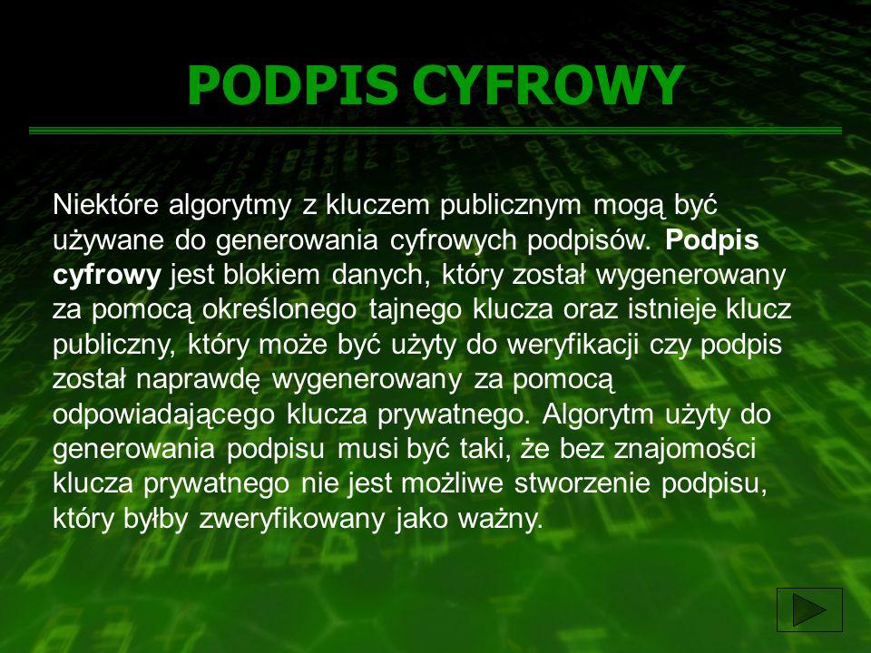 PODPIS CYFROWY Niektóre algorytmy z kluczem publicznym mogą być używane do generowania cyfrowych podpisów. Podpis cyfrowy jest blokiem danych, który z