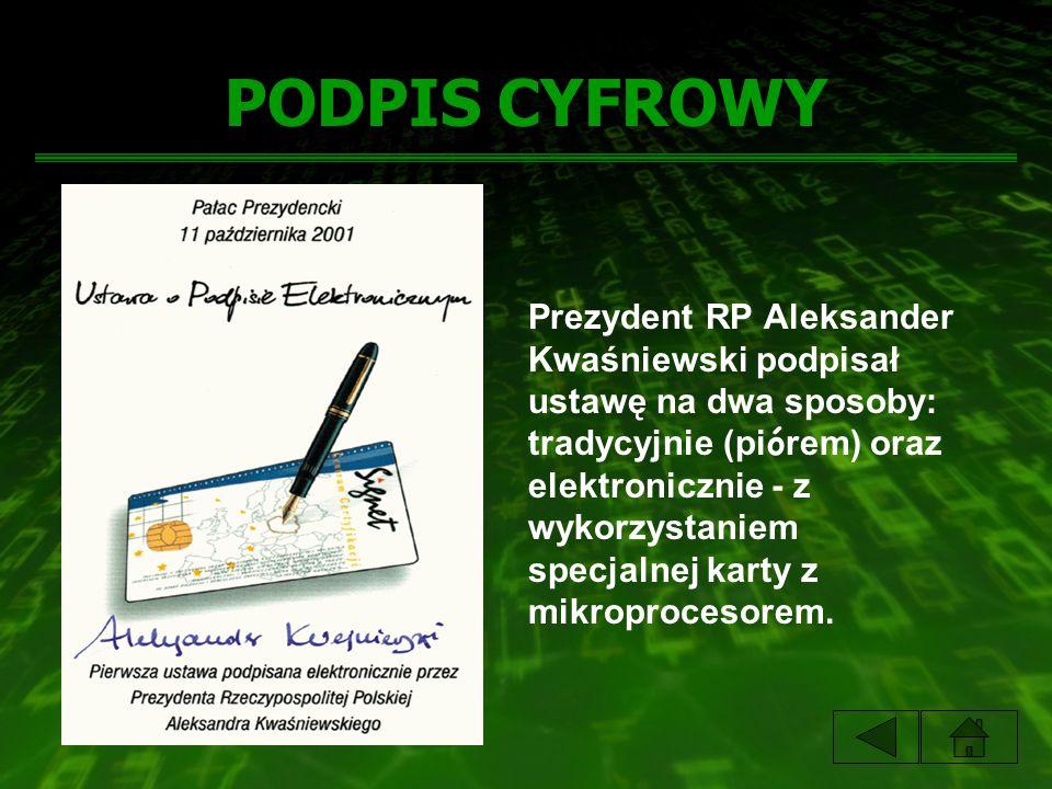 PODPIS CYFROWY Prezydent RP Aleksander Kwaśniewski podpisał ustawę na dwa sposoby: tradycyjnie (pi ó rem) oraz elektronicznie - z wykorzystaniem specjalnej karty z mikroprocesorem.