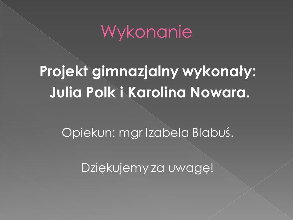 Projekt gimnazjalny wykonały: Julia Polk i Karolina Nowara. Opiekun: mgr Izabela Blabuś. Dziękujemy za uwagę!