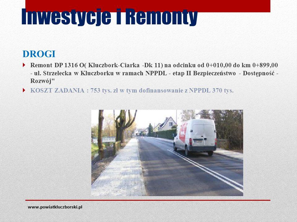 Inwestycje i Remonty DROGI  Remont DP 1316 O( Kluczbork-Ciarka -Dk 11) na odcinku od 0+010,00 do km 0+899,00 - ul.