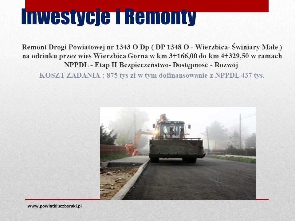 Inwestycje i Remonty Remont Drogi Powiatowej nr 1343 O Dp ( DP 1348 O - Wierzbica- Świniary Małe ) na odcinku przez wieś Wierzbica Górna w km 3+166,00 do km 4+329,50 w ramach NPPDL - Etap II Bezpieczeństwo- Dostępność - Rozwój KOSZT ZADANIA : 875 tys zł w tym dofinansowanie z NPPDL 437 tys.