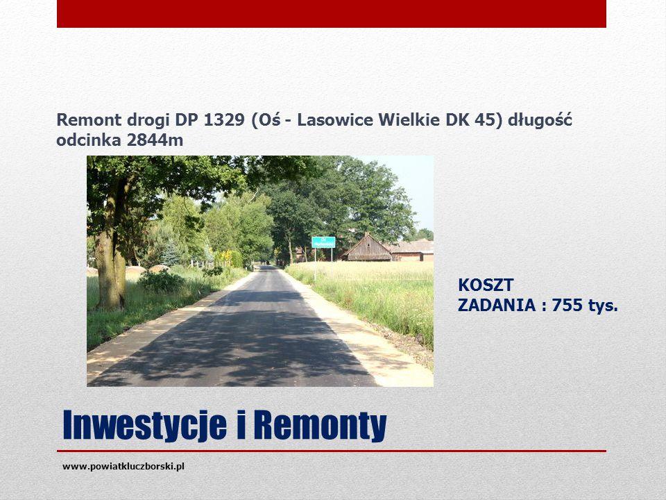 Inwestycje i Remonty www.powiatkluczborski.pl KOSZT ZADANIA : 755 tys.