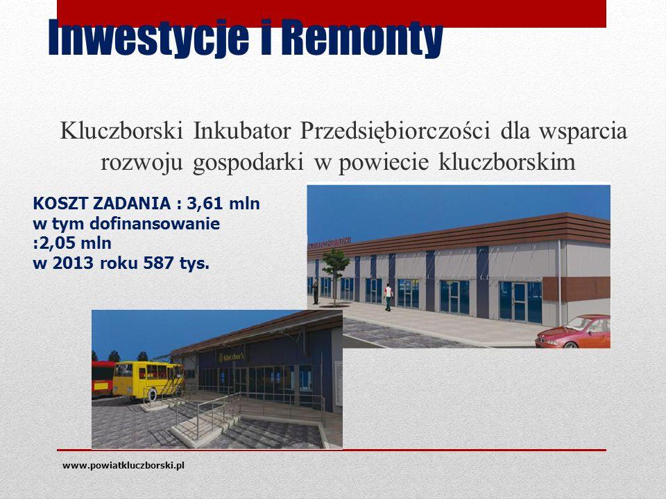 Inwestycje i Remonty Kluczborski Inkubator Przedsiębiorczości dla wsparcia rozwoju gospodarki w powiecie kluczborskim www.powiatkluczborski.pl KOSZT ZADANIA : 3,61 mln w tym dofinansowanie :2,05 mln w 2013 roku 587 tys.