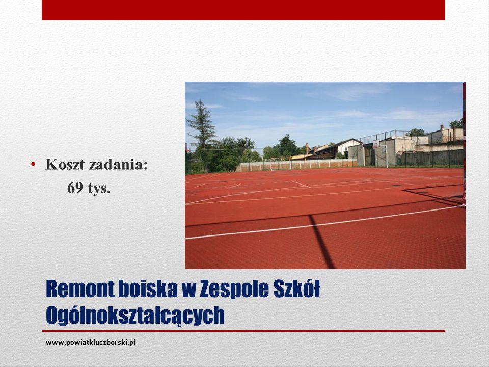 Remont boiska w Zespole Szkół Ogólnokształcących Koszt zadania: 69 tys. www.powiatkluczborski.pl