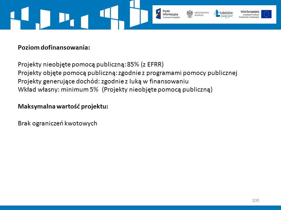 100 Poziom dofinansowania: Projekty nieobjęte pomocą publiczną: 85% (z EFRR) Projekty objęte pomocą publiczną: zgodnie z programami pomocy publicznej