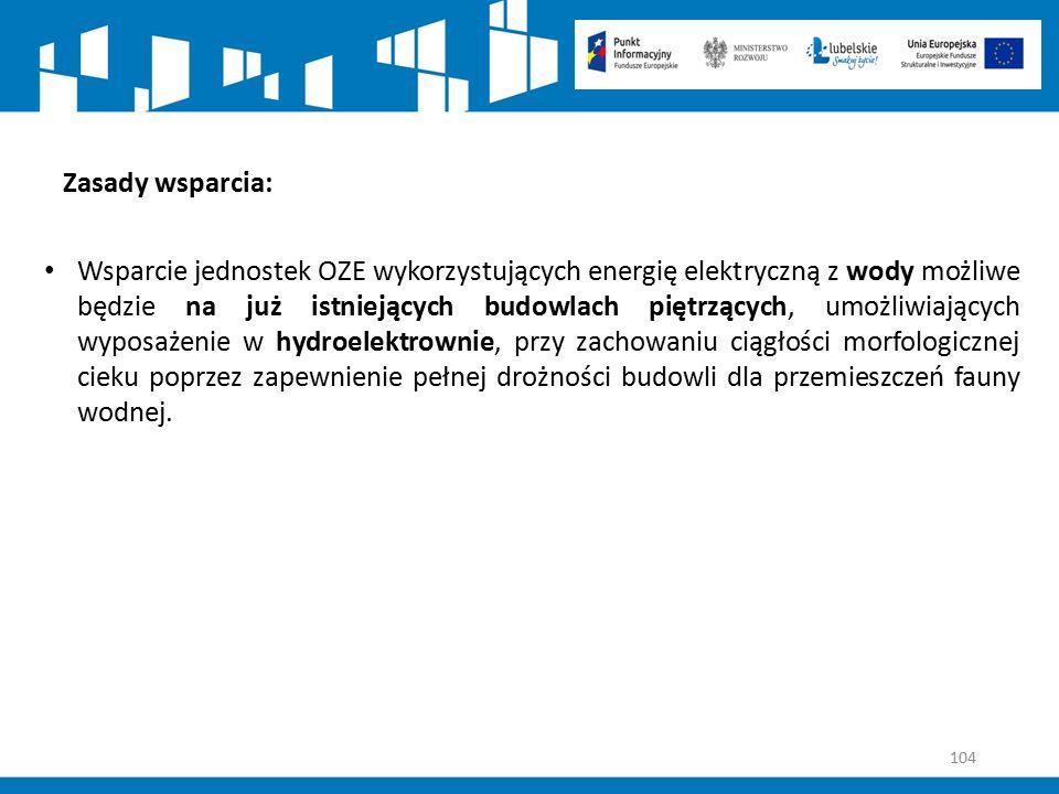 104 Zasady wsparcia: Wsparcie jednostek OZE wykorzystujących energię elektryczną z wody możliwe będzie na już istniejących budowlach piętrzących, umoż