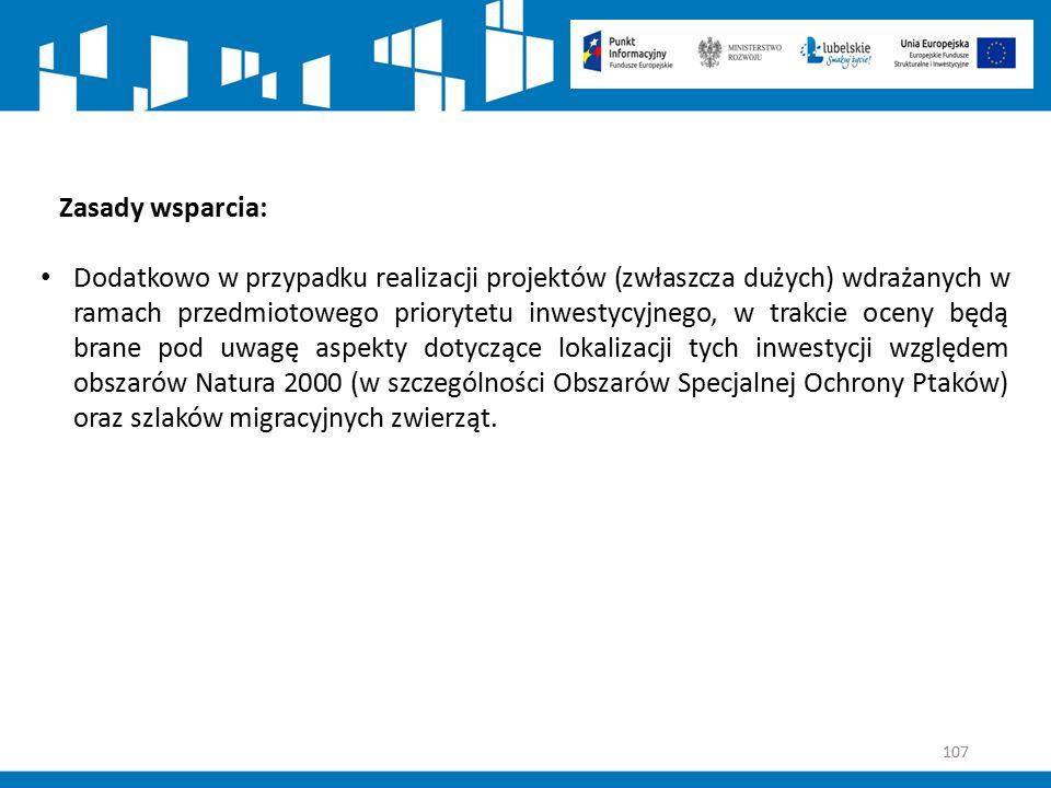 107 Zasady wsparcia: Dodatkowo w przypadku realizacji projektów (zwłaszcza dużych) wdrażanych w ramach przedmiotowego priorytetu inwestycyjnego, w tra
