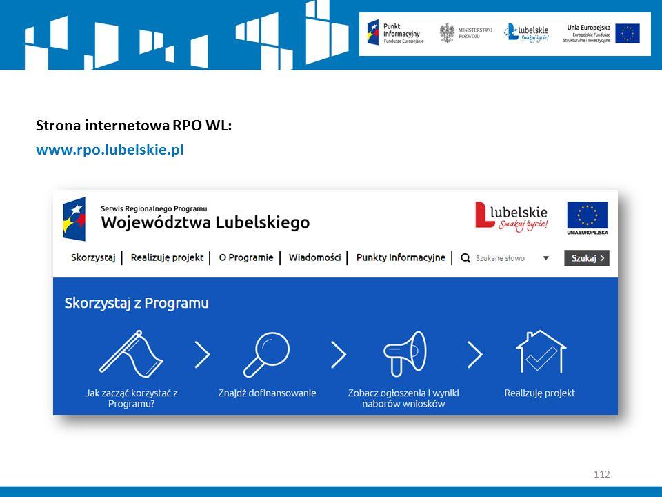 112 Strona internetowa RPO WL: www.rpo.lubelskie.pl