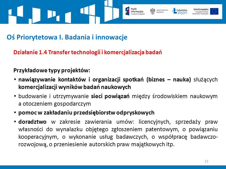 12 Oś Priorytetowa I. Badania i innowacje Działanie 1.4 Transfer technologii i komercjalizacja badań Przykładowe typy projektów: nawiązywanie kontaktó