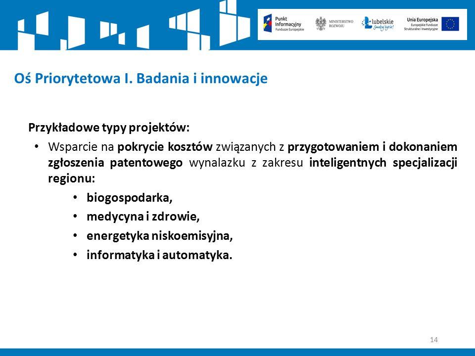 14 Oś Priorytetowa I. Badania i innowacje Przykładowe typy projektów: Wsparcie na pokrycie kosztów związanych z przygotowaniem i dokonaniem zgłoszenia