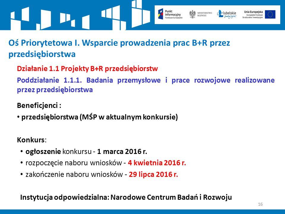 16 Oś Priorytetowa I. Wsparcie prowadzenia prac B+R przez przedsiębiorstwa Działanie 1.1 Projekty B+R przedsiębiorstw Poddziałanie 1.1.1. Badania prze