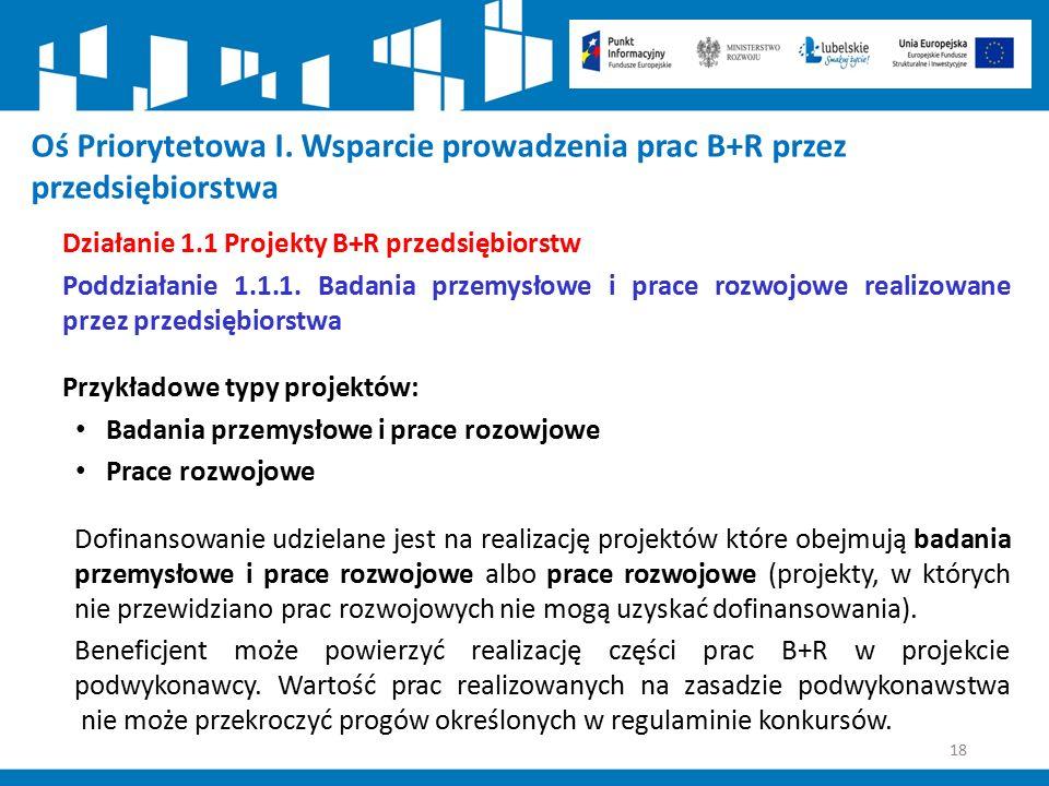18 Działanie 1.1 Projekty B+R przedsiębiorstw Poddziałanie 1.1.1. Badania przemysłowe i prace rozwojowe realizowane przez przedsiębiorstwa Przykładowe