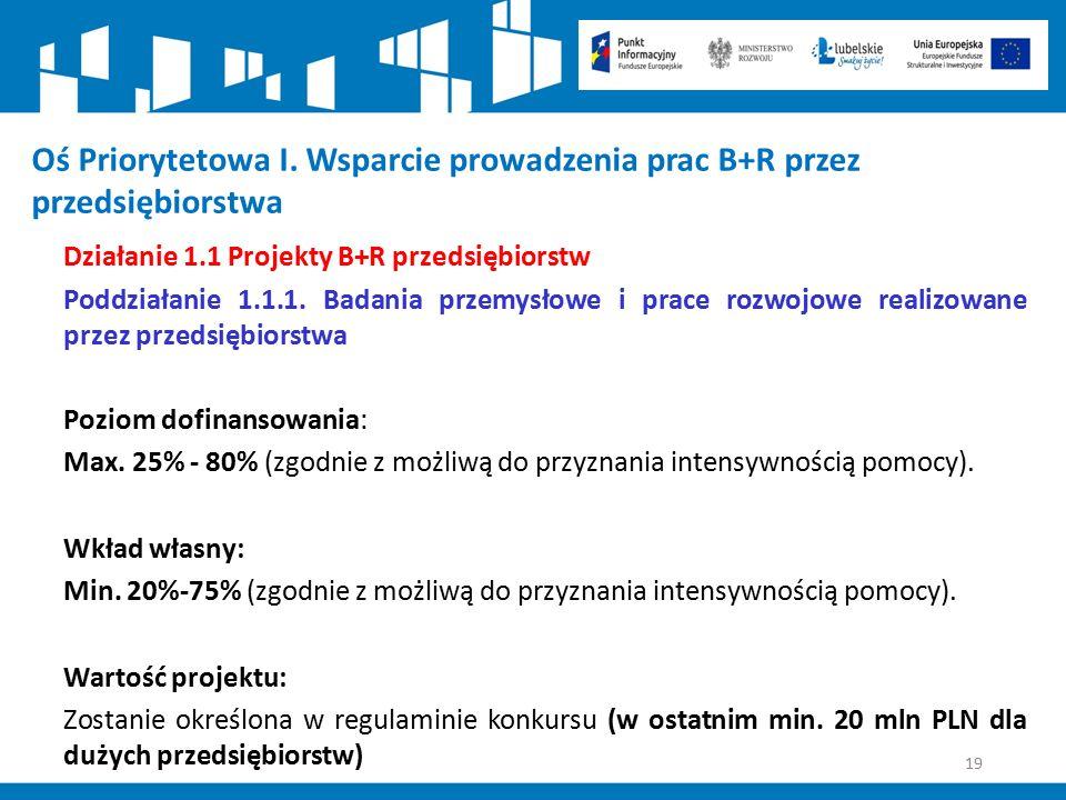 19 Oś Priorytetowa I. Wsparcie prowadzenia prac B+R przez przedsiębiorstwa Działanie 1.1 Projekty B+R przedsiębiorstw Poddziałanie 1.1.1. Badania prze