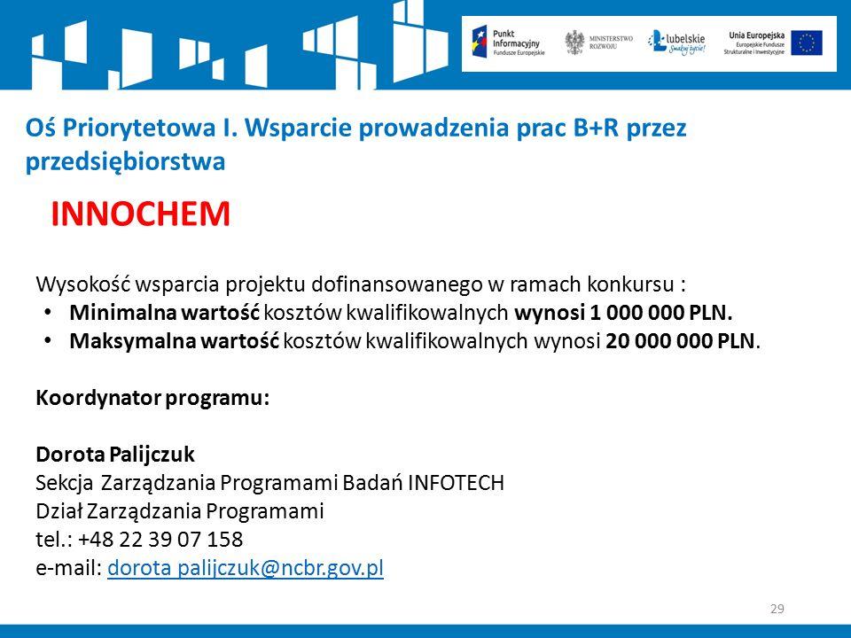 29 Oś Priorytetowa I. Wsparcie prowadzenia prac B+R przez przedsiębiorstwa INNOCHEM Wysokość wsparcia projektu dofinansowanego w ramach konkursu : Min