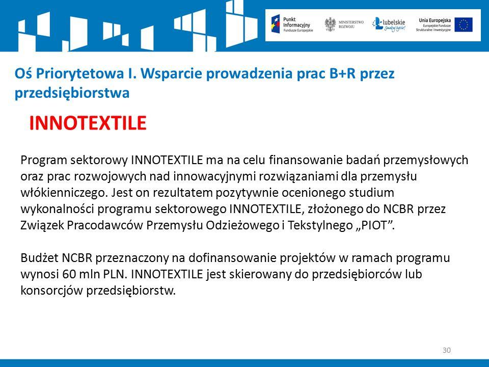 30 Oś Priorytetowa I. Wsparcie prowadzenia prac B+R przez przedsiębiorstwa INNOTEXTILE Program sektorowy INNOTEXTILE ma na celu finansowanie badań prz