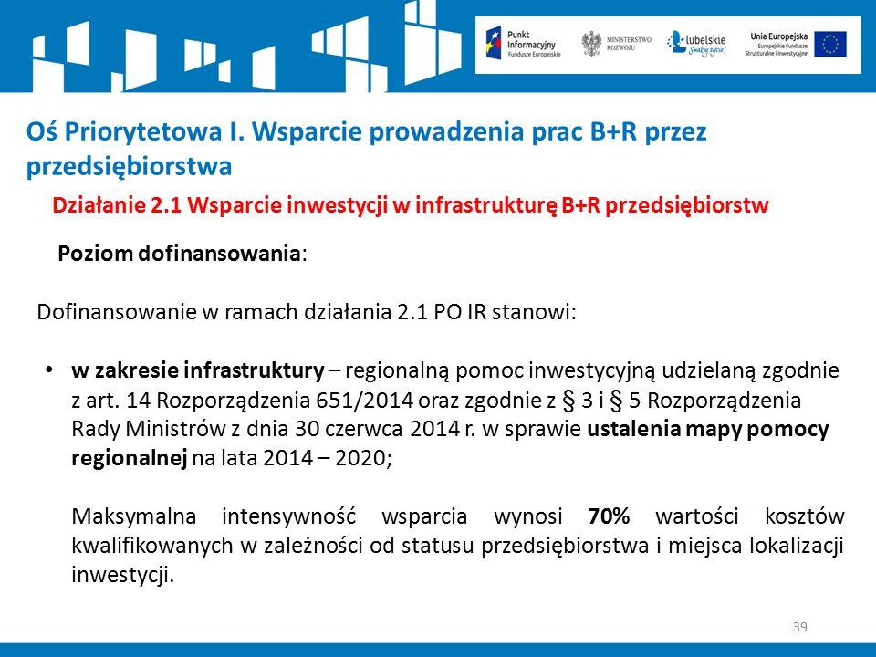 39 Działanie 2.1 Wsparcie inwestycji w infrastrukturę B+R przedsiębiorstw Poziom dofinansowania: Dofinansowanie w ramach działania 2.1 PO IR stanowi: