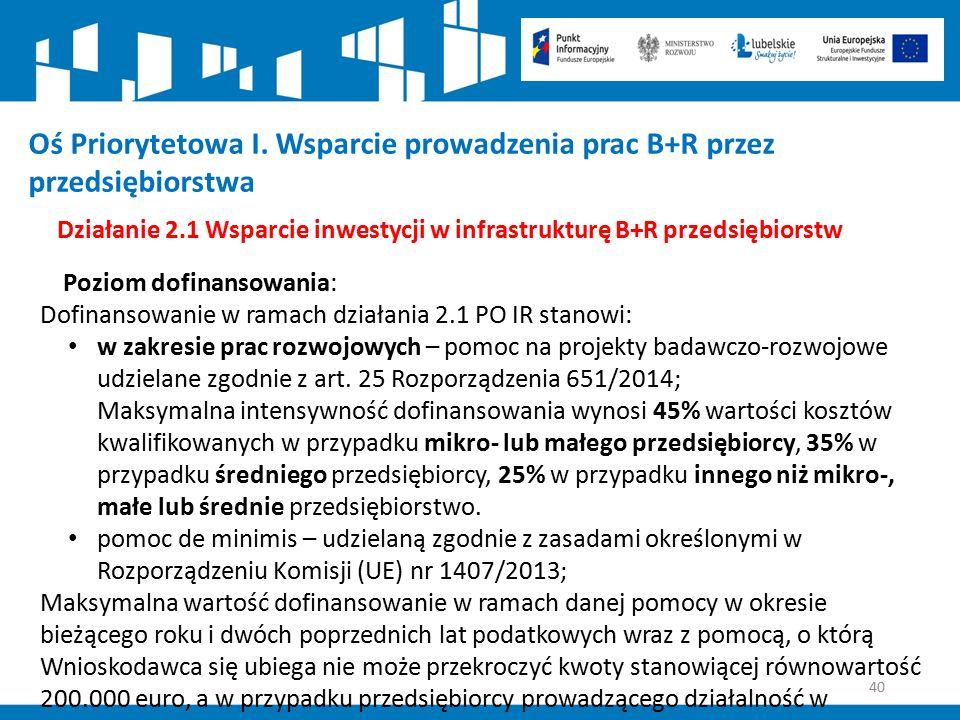 40 Działanie 2.1 Wsparcie inwestycji w infrastrukturę B+R przedsiębiorstw Poziom dofinansowania: Dofinansowanie w ramach działania 2.1 PO IR stanowi: