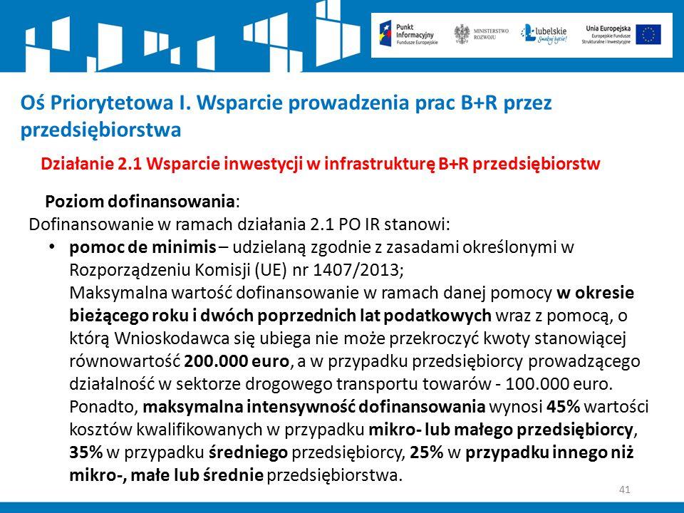 41 Działanie 2.1 Wsparcie inwestycji w infrastrukturę B+R przedsiębiorstw Poziom dofinansowania: Dofinansowanie w ramach działania 2.1 PO IR stanowi: