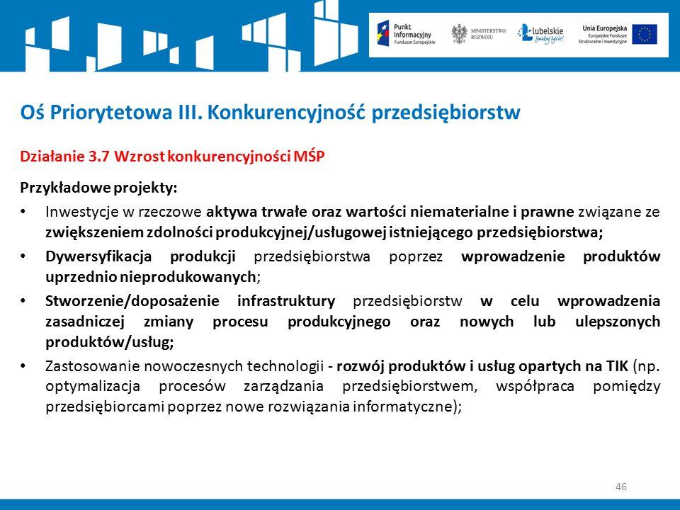 46 Oś Priorytetowa III. Konkurencyjność przedsiębiorstw Działanie 3.7 Wzrost konkurencyjności MŚP Przykładowe projekty: Inwestycje w rzeczowe aktywa t