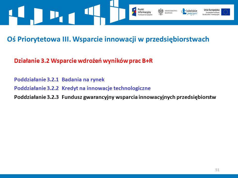 51 Oś Priorytetowa III. Wsparcie innowacji w przedsiębiorstwach Działanie 3.2 Wsparcie wdrożeń wyników prac B+R Poddziałanie 3.2.1 Badania na rynek Po