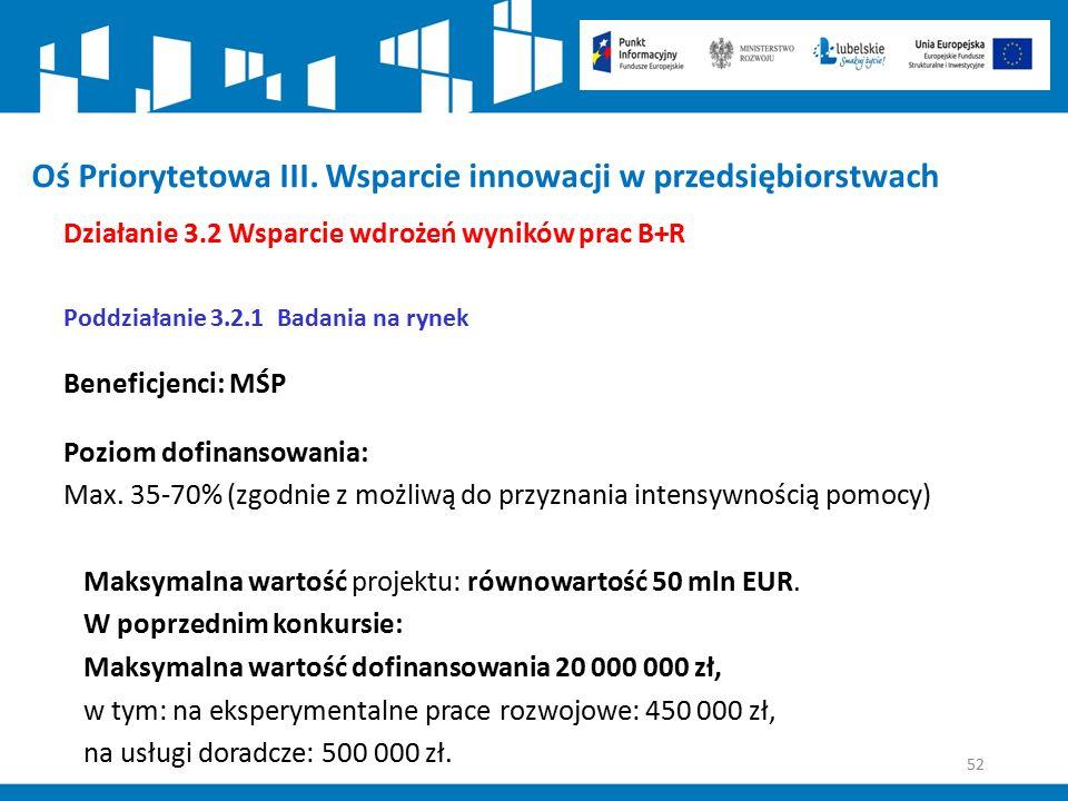 52 Oś Priorytetowa III. Wsparcie innowacji w przedsiębiorstwach Działanie 3.2 Wsparcie wdrożeń wyników prac B+R Poddziałanie 3.2.1 Badania na rynek Be