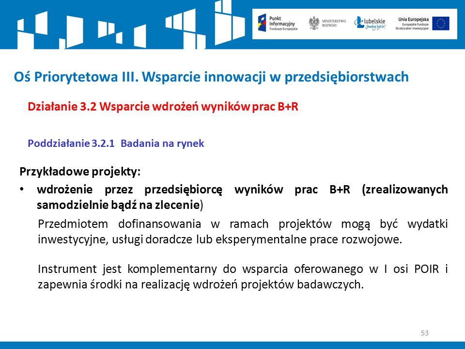 53 Oś Priorytetowa III. Wsparcie innowacji w przedsiębiorstwach Działanie 3.2 Wsparcie wdrożeń wyników prac B+R Poddziałanie 3.2.1 Badania na rynek Pr