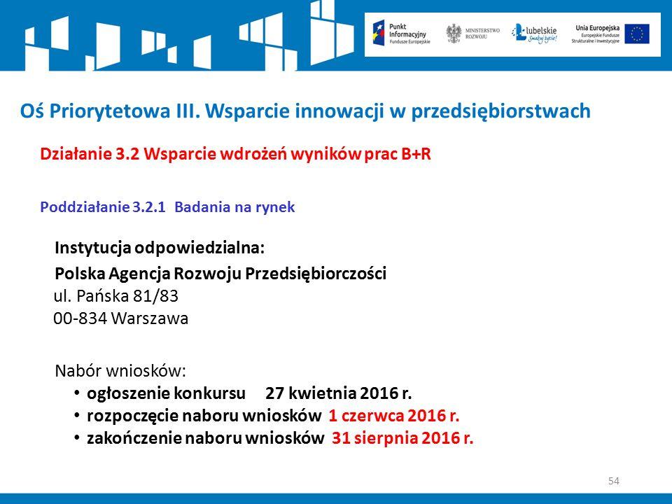 54 Oś Priorytetowa III. Wsparcie innowacji w przedsiębiorstwach Działanie 3.2 Wsparcie wdrożeń wyników prac B+R Poddziałanie 3.2.1 Badania na rynek In
