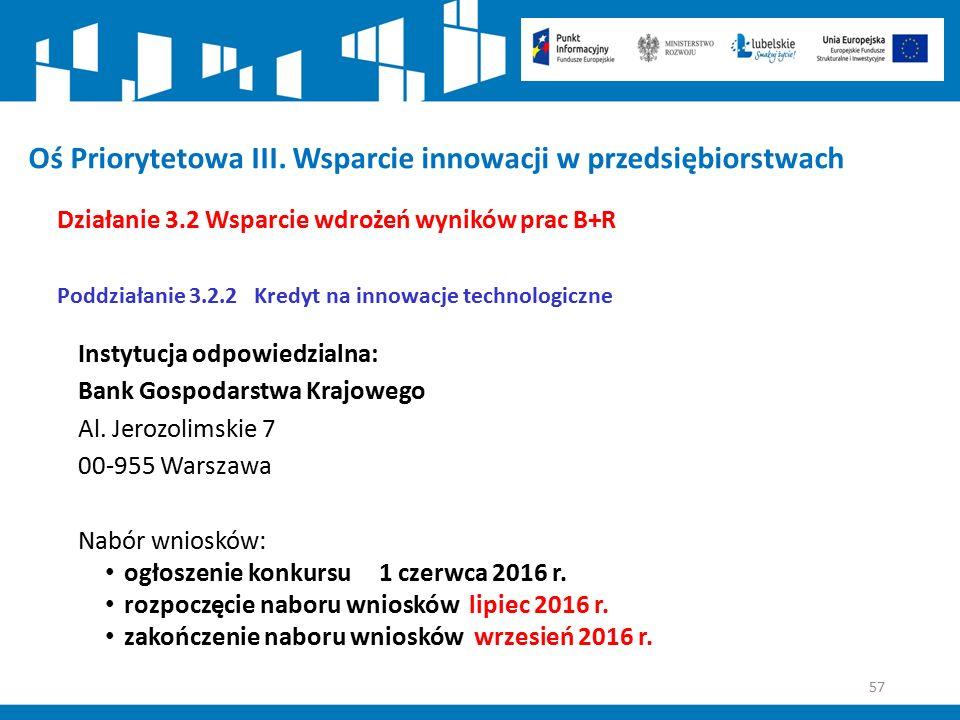 57 Oś Priorytetowa III. Wsparcie innowacji w przedsiębiorstwach Działanie 3.2 Wsparcie wdrożeń wyników prac B+R Poddziałanie 3.2.2 Kredyt na innowacje
