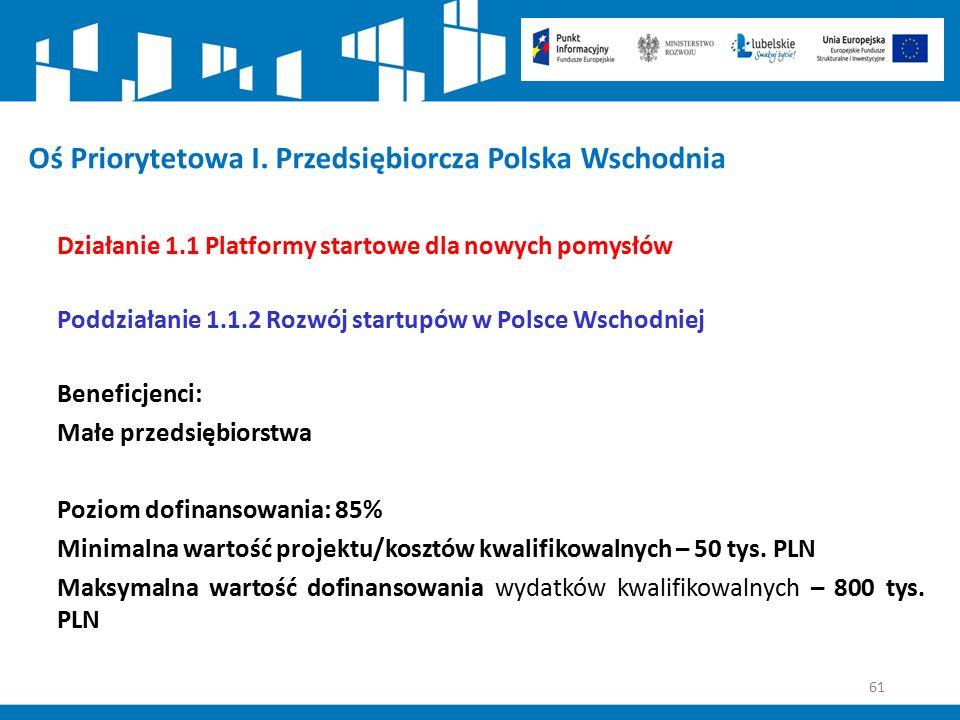 61 Oś Priorytetowa I. Przedsiębiorcza Polska Wschodnia Działanie 1.1 Platformy startowe dla nowych pomysłów Poddziałanie 1.1.2 Rozwój startupów w Pols