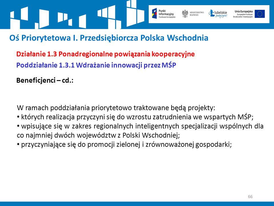 66 Oś Priorytetowa I. Przedsiębiorcza Polska Wschodnia Działanie 1.3 Ponadregionalne powiązania kooperacyjne Poddziałanie 1.3.1 Wdrażanie innowacji pr