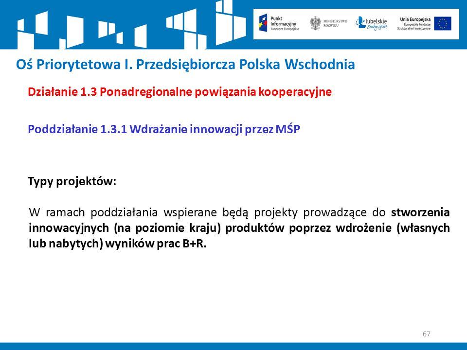 67 Oś Priorytetowa I. Przedsiębiorcza Polska Wschodnia Działanie 1.3 Ponadregionalne powiązania kooperacyjne Poddziałanie 1.3.1 Wdrażanie innowacji pr