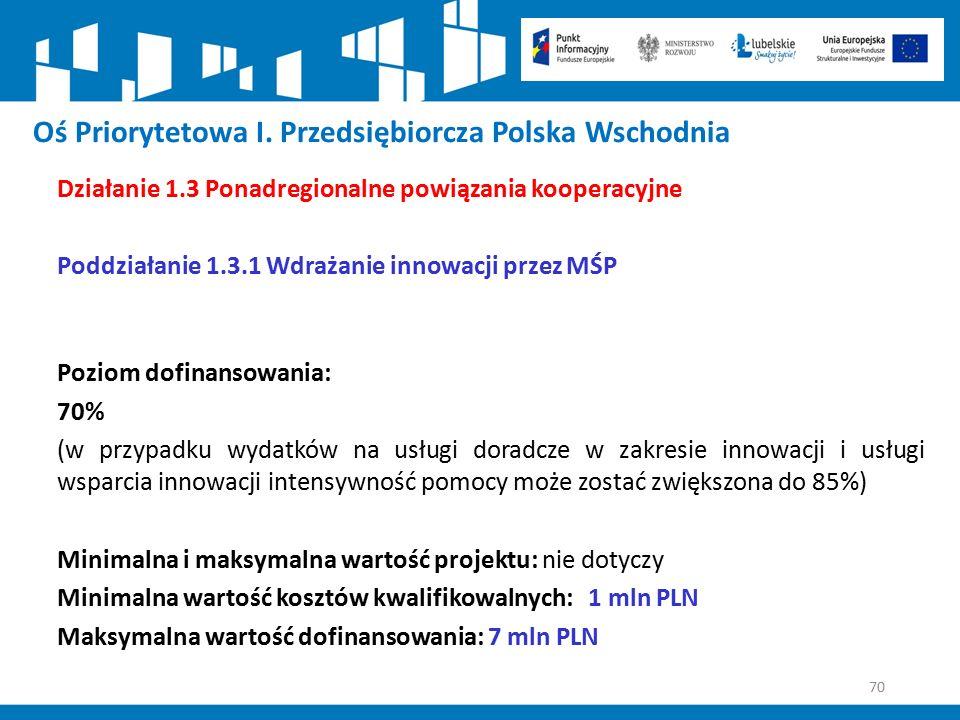 70 Oś Priorytetowa I. Przedsiębiorcza Polska Wschodnia Działanie 1.3 Ponadregionalne powiązania kooperacyjne Poddziałanie 1.3.1 Wdrażanie innowacji pr