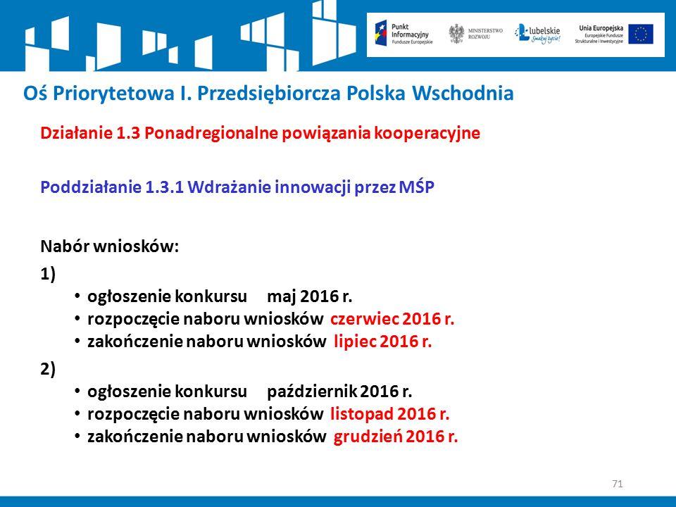 71 Oś Priorytetowa I. Przedsiębiorcza Polska Wschodnia Działanie 1.3 Ponadregionalne powiązania kooperacyjne Poddziałanie 1.3.1 Wdrażanie innowacji pr