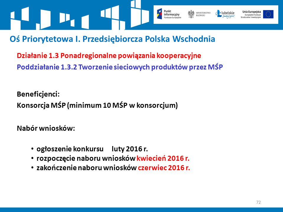 72 Oś Priorytetowa I. Przedsiębiorcza Polska Wschodnia Działanie 1.3 Ponadregionalne powiązania kooperacyjne Poddziałanie 1.3.2 Tworzenie sieciowych p