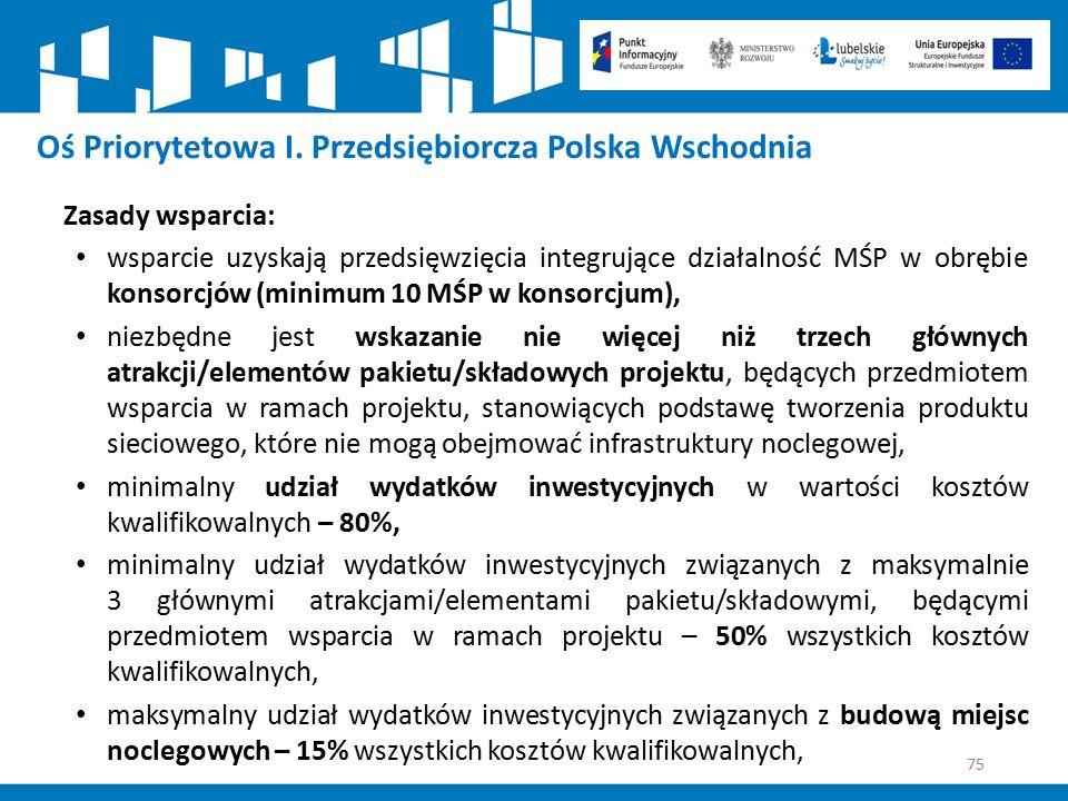 75 Oś Priorytetowa I. Przedsiębiorcza Polska Wschodnia Zasady wsparcia: wsparcie uzyskają przedsięwzięcia integrujące działalność MŚP w obrębie konsor