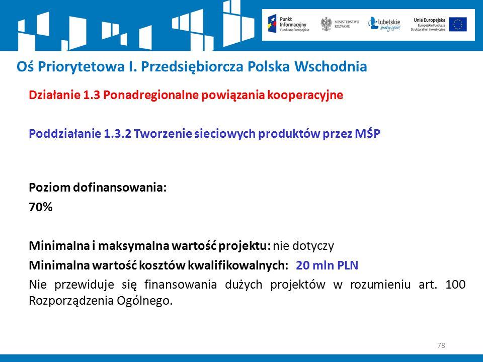 78 Oś Priorytetowa I. Przedsiębiorcza Polska Wschodnia Działanie 1.3 Ponadregionalne powiązania kooperacyjne Poddziałanie 1.3.2 Tworzenie sieciowych p