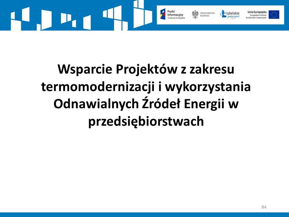 84 Wsparcie Projektów z zakresu termomodernizacji i wykorzystania Odnawialnych Źródeł Energii w przedsiębiorstwach