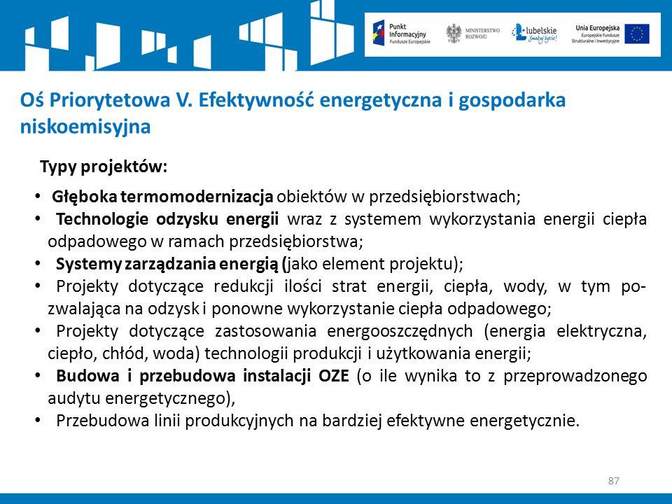 87 Typy projektów: Głęboka termomodernizacja obiektów w przedsiębiorstwach; Technologie odzysku energii wraz z systemem wykorzystania energii ciepła o