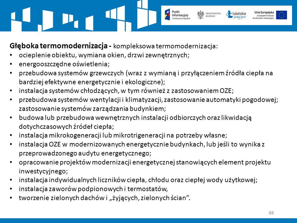 88 Głęboka termomodernizacja - kompleksowa termomodernizacja: ocieplenie obiektu, wymiana okien, drzwi zewnętrznych; energooszczędne oświetlenia; prze