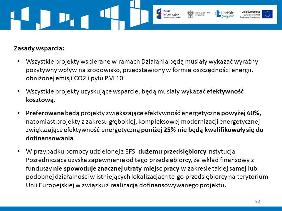 90 Zasady wsparcia: Wszystkie projekty wspierane w ramach Działania będą musiały wykazać wyraźny pozytywny wpływ na środowisko, przedstawiony w formie