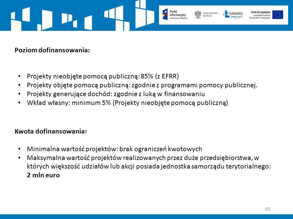 92 Poziom dofinansowania: Projekty nieobjęte pomocą publiczną: 85% (z EFRR) Projekty objęte pomocą publiczną: zgodnie z programami pomocy publicznej.