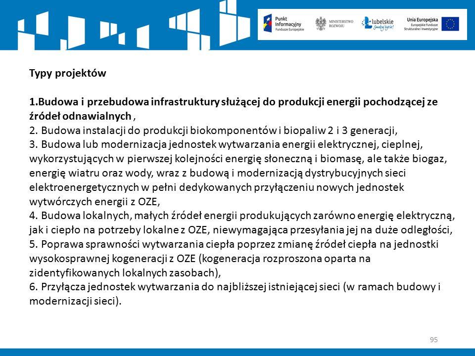 95 Typy projektów 1.Budowa i przebudowa infrastruktury służącej do produkcji energii pochodzącej ze źródeł odnawialnych, 2. Budowa instalacji do produ