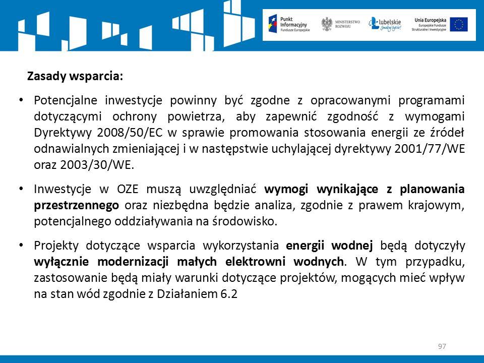 97 Zasady wsparcia: Potencjalne inwestycje powinny być zgodne z opracowanymi programami dotyczącymi ochrony powietrza, aby zapewnić zgodność z wymogam