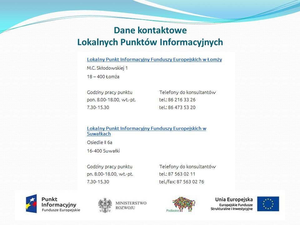 Dane kontaktowe Lokalnych Punktów Informacyjnych