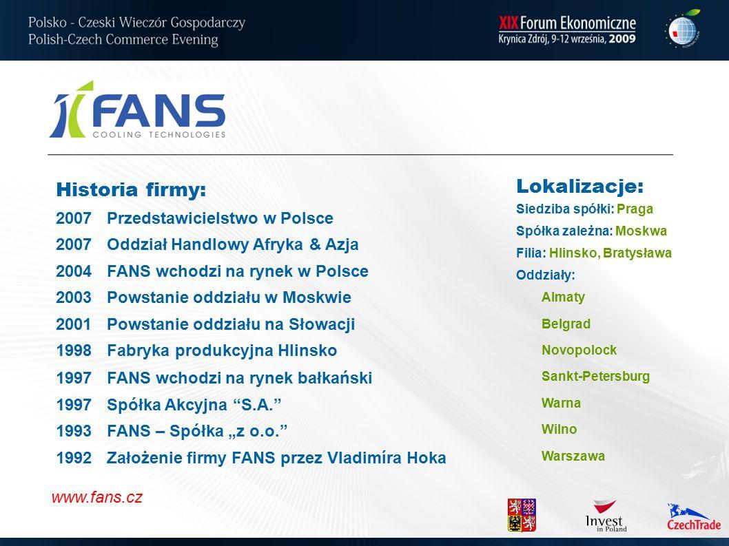 Historia firmy: 2007Przedstawicielstwo w Polsce 2007Oddział Handlowy Afryka & Azja 2004FANS wchodzi na rynek w Polsce 2003Powstanie oddziału w Moskwie