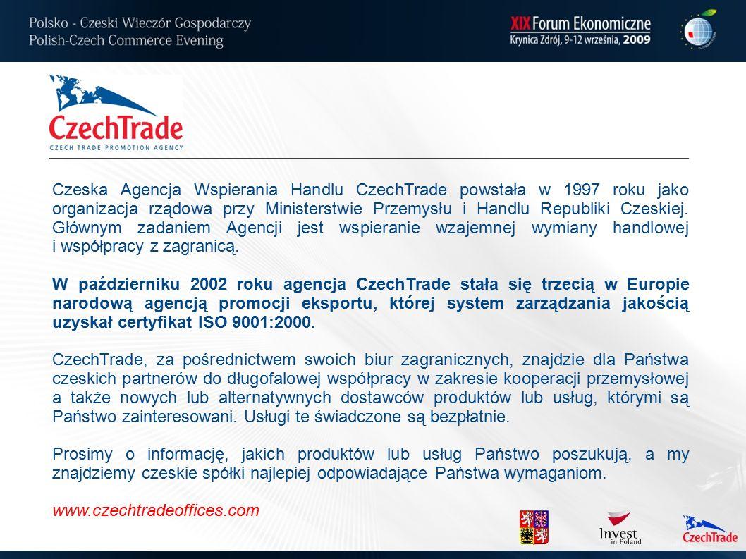 Czeska Agencja Wspierania Handlu CzechTrade powstała w 1997 roku jako organizacja rządowa przy Ministerstwie Przemysłu i Handlu Republiki Czeskiej.