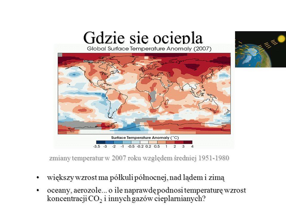 zmiany temperatur w 2007 roku względem średniej 1951-1980 zmiany temperatur w 2007 roku względem średniej 1951-1980 większy wzrost ma półkuli północnej, nad lądem i zimąwiększy wzrost ma półkuli północnej, nad lądem i zimą oceany, aerozole...