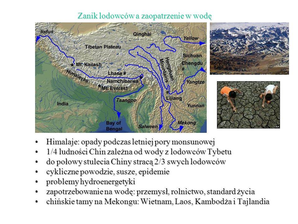 Himalaje: opady podczas letniej pory monsunowejHimalaje: opady podczas letniej pory monsunowej 1/4 ludności Chin zależna od wody z lodowców Tybetu1/4