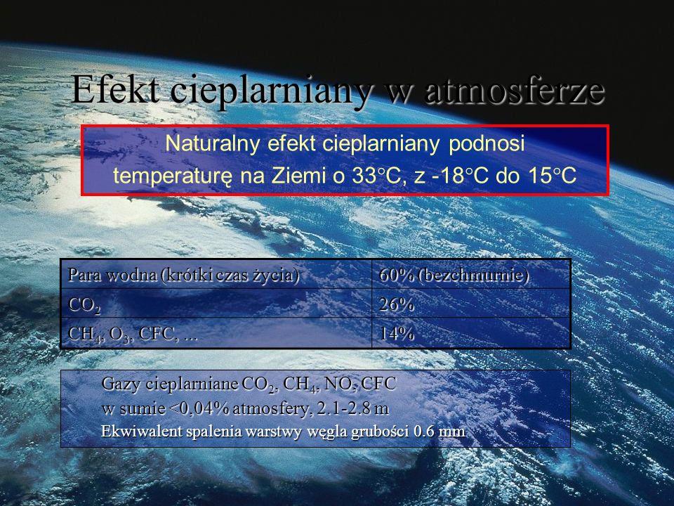 Gazy cieplarniane CO 2, CH 4, NO, CFC w sumie <0,04% atmosfery, 2.1-2.8 m Ekwiwalent spalenia warstwy węgla grubości 0.6 mm Naturalny efekt cieplarniany podnosi temperaturę na Ziemi o 33°C, z -18°C do 15°C Para wodna (krótki czas życia) 60% (bezchmurnie) CO 2 26% CH 4, O 3, CFC,...
